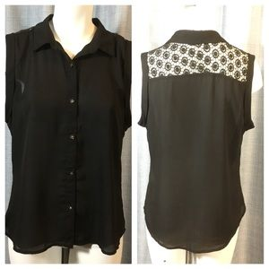 Lumiere black sleeveless blouse top w/ lace back